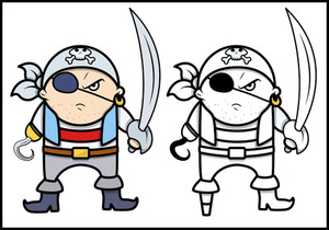 Angry Pirate Captain - Vector Cartoon Illustration