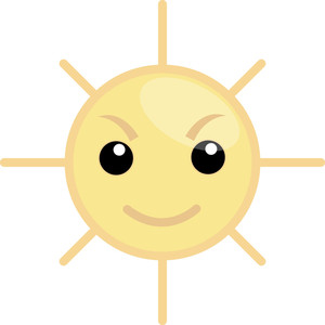 Angry Sun Cartoon Vector