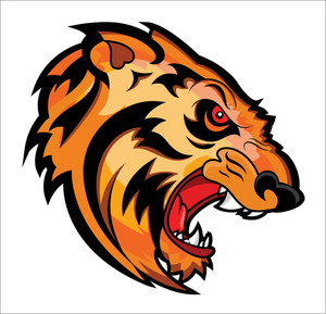 Angry Tiger Face Mascot Vector Tattoo