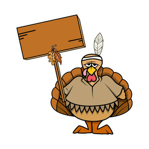 Angry Turkey Bird With Blank Board