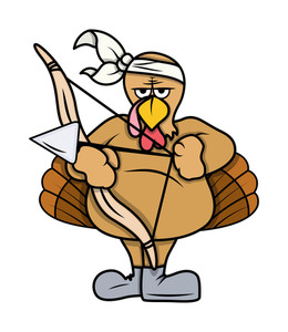 Angry Turkey Bird With Bow And Arrow