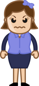 Angry Woman - Business Cartoon Character Vector