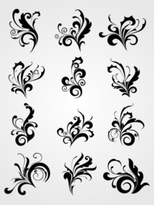 Antique Scroll Pattern Black Tattoos