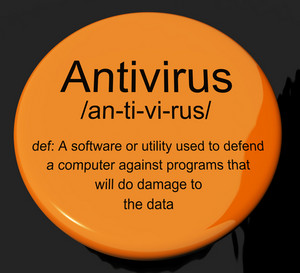 Antivirus Definition Button Showing Computer System Security