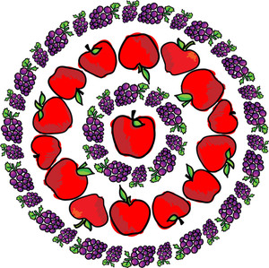 Apple & Grapes. Vector Illustration