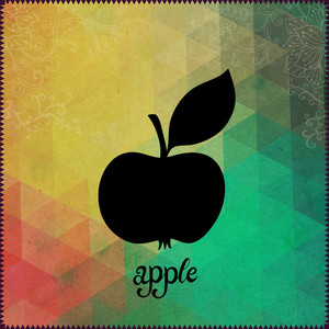 "Apple Silhouette On Hipster Background Made Of Triangles With Grunge Paper. Retro Background With Floral Ornament And Geometric Shapes.black Silhouette.vector Illustration. Label. Lettering ""apple"""