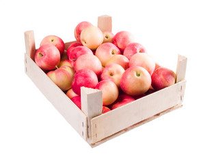 Apples In Crate Isolated On White