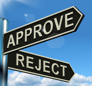 Approve Reject Signpost Showing Decision To Accept Or Decline