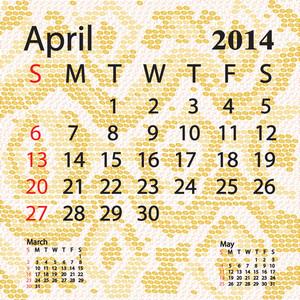 April 2014 Calendar Albino Snake Skin