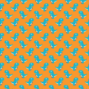 Aqua Dinosaur Pattern On An Orange Background