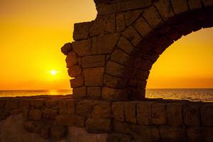 Aqueduct in ancient city Caesarea