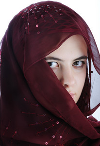 Arab teenager female isolated on a white background