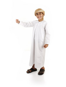 Arabic boy in traditional clothes isolated