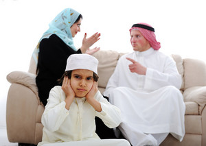 Arabic couple fighting and child suffering