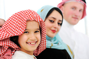 Arabic happy family at home