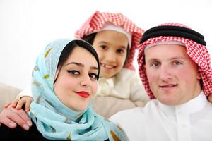 Arabic happy family at home