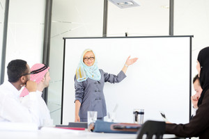 Arabic middle eastern woman having a business presentation with copy space board