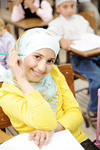 Arabic Muslim girl in classroom