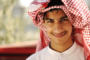 Arabic person smiling