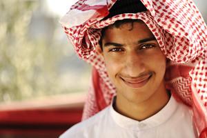 Arabic person smiling