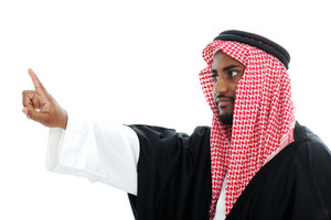 Arabic Sheikh pressing abstract button - place for your message