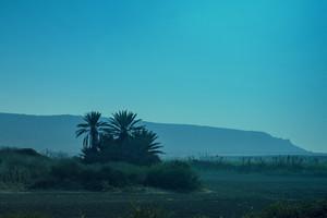 Arable land in Israel near Haifa city at night with Carmel mountain at background