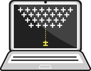 Arcade Game On Laptop - Business Cartoons Vectors