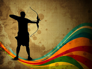 Archery Silhouette On A Old Paper Background With Colorful Waves And Grunge. Eps10 Vector Illustration.