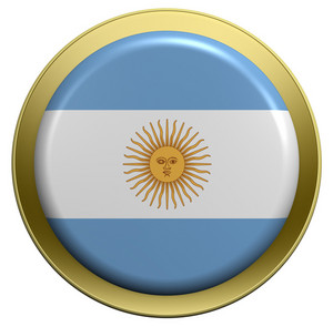 Argentina Flag On The Round Button Isolated On White.