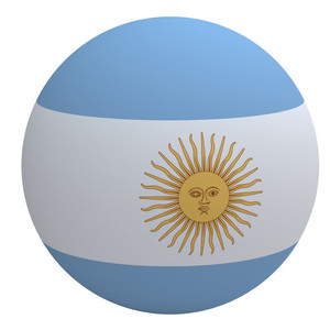 Argentina On The Ball Isolated On White.