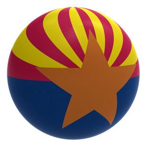 Arizona Flag On The Ball Isolated On White