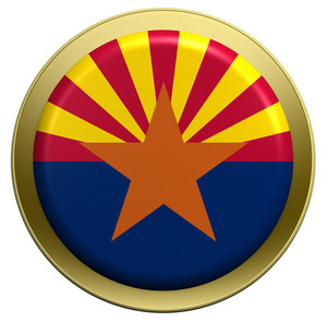 Arizona Flag On The Round Button Isolated On White.