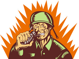 Army Soldier Pulling Biting Pin Of Hand Grenade