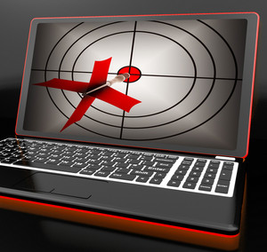 Arrow Aiming On Laptop Shows Efficient Shot