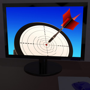 Arrow Aiming On Monitor Showing Performance