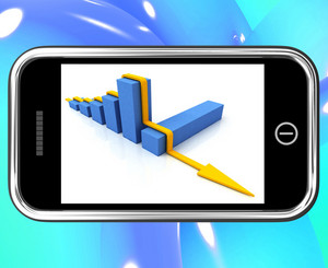 Arrow Falling On Smartphone Showing Collapsed Finances