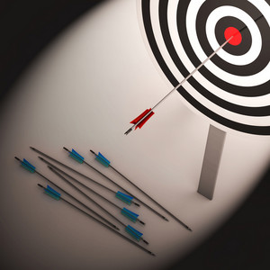 Arrow On Dartboard Shows Failure Or Failed Shot