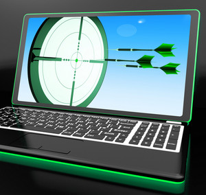 Arrows Aiming On Laptop Showing Extreme Accuracy