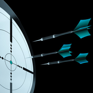 Arrows Aiming Target Showing Focusing