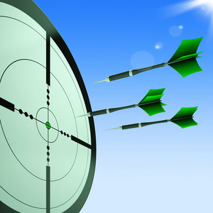 Arrows Aiming Target Shows Hitting Goals