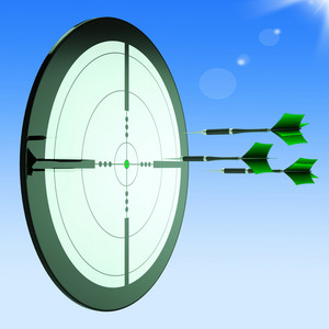 Arrows Aiming Target Shows Perfect Performance