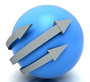 Arrows Blue Sphere Shows Direction