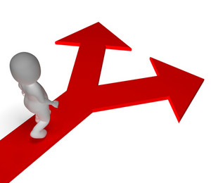 Arrows Choice Shows Options Alternatives Or Choosing