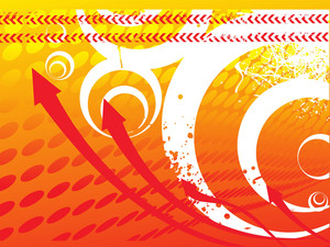 Arrows On Orange Halftone Background