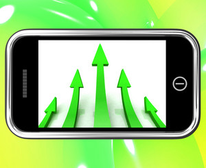 Arrows Pointing Up On Smartphone Shows Progress