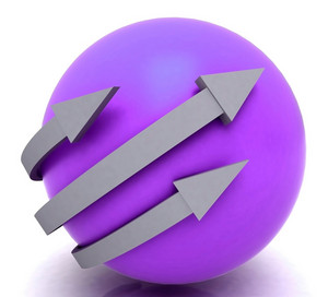 Arrows Purple Sphere Shows Direction