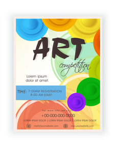 Art competition announcement template banner or flyer design with timing schedule.