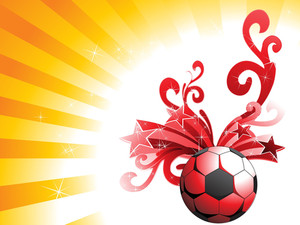 Artistic Design And Star With Red Football