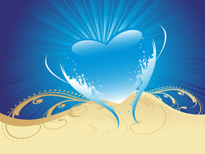 Artistic Design With Blue Heart