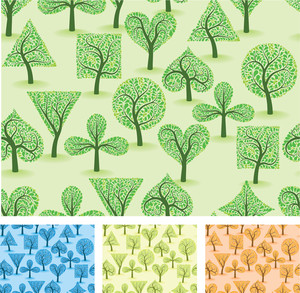 Artistic Ornamental Forest. Vector Seamless Background Set.
